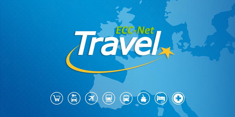 ECC-Net-Travel-App-Logo mit Icons und der Europakarte im Hintergrund