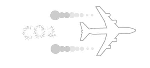 Schéma d'un avion dégageant des particules de CO2.