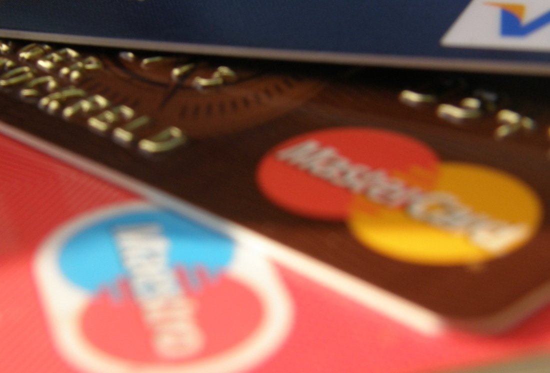 Close-up on several credit cards.