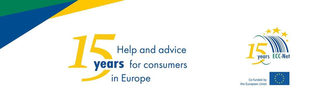 Bannière des 15 ans du réseau des Centres Européens des Consommateurs.