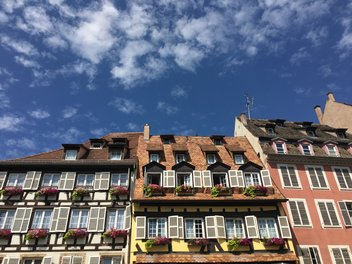 Traditional half-timbered houses and blue sky