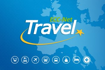 Presentation of the ECC-Net Travel application with its logo and icons symbolising all the areas covered on a map of Europe.