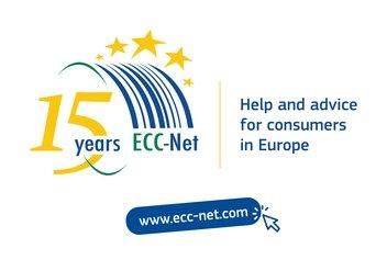 Logo des 15 ans du réseau des Centres Européens des Consommateurs.